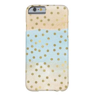 Les confettis bleus d'or d'aquarelle de pêche coque barely there iPhone 6