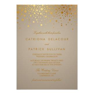 Les confettis de feuille d'or de Faux pointillent  Carton D'invitation