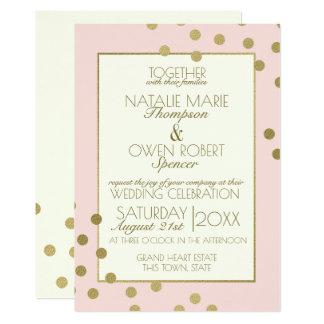 Les confettis d'or pointillent l'ivoire et carton d'invitation  12,7 cm x 17,78 cm