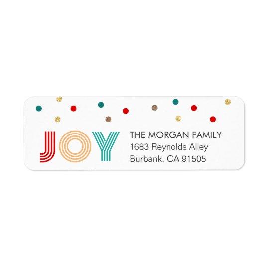 Les confettis modernes de JOIE colorée pointillent Étiquette D'adresse Retour