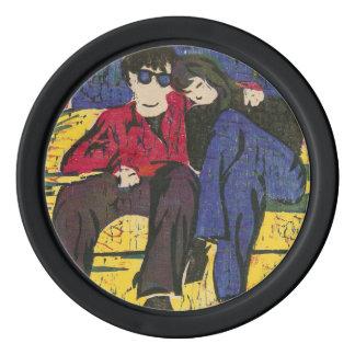 Les couples dans la gravure sur bois en amour jetons de poker