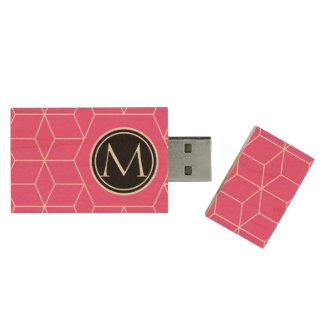 Les cubes et le monogramme brillants se sont levés clé USB 2.0 en bois