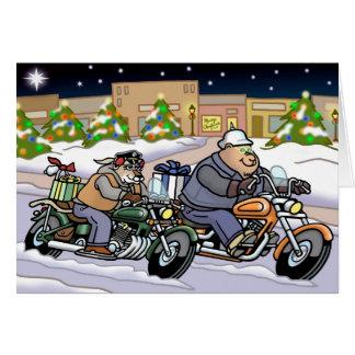 Les cyclistes sont carte de Noël d'animaux -