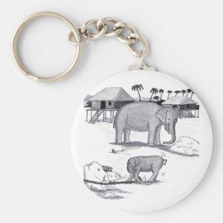 Les éléphants ont tenu le captif porte-clé rond