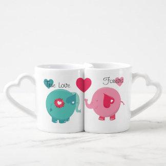 Les éléphants véritable des tasses d'amants d'amou tasses duo