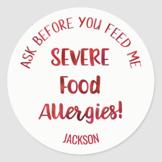 Les enfants graves d'allergies alimentaires sticker rond