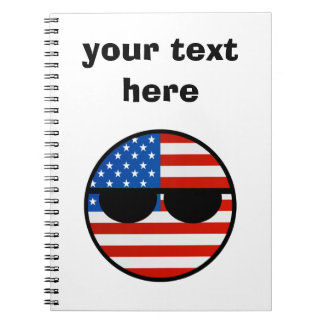 Les Etats-Unis Geeky tendants drôles Countryball Carnet À Spirale