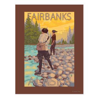 Les femmes pilotent la pêche - Fairbanks, Alaska Carte Postale