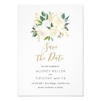 Les fleurs blanches d'aquarelle sauvent la carte