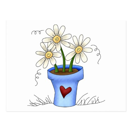 les fleurs de la m re pot de fleur bleu cartes postales zazzle. Black Bedroom Furniture Sets. Home Design Ideas