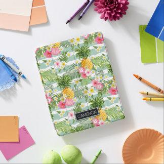 Les fleurs et les rayures de Teal d'ananas | Protection iPad