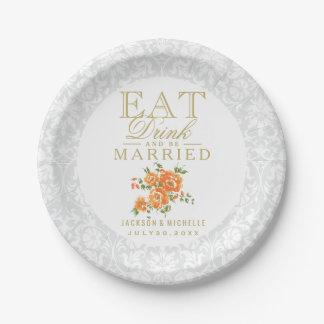 Les fleurs oranges - mangez, boisson et soyez assiettes en papier
