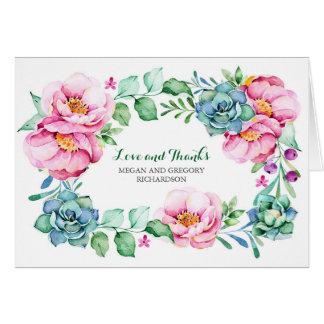 les fleurs roses et les succulents élégants vous carte