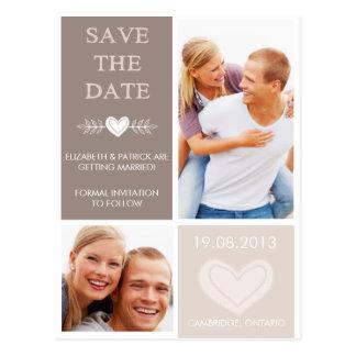 Les griffonnages rustiques de coeur sauvent la cartes postales