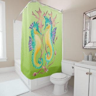les hippocampes chaulent le verre souillé rideaux de douche