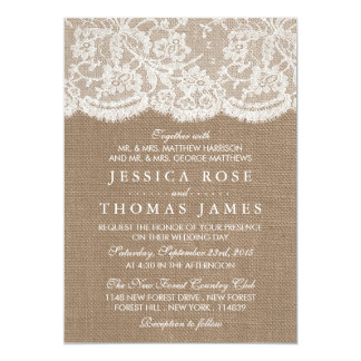 Les invitations de collection de toile de jute et