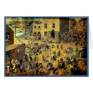"""Les """"jeux des enfants"""" de Pieter Bruegel - 1560 Carte De Vœux"""