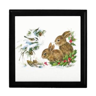 Les lapins et l'oiseau apprécient la neige boîte à souvenirs