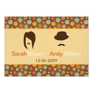 les lèvres et mariage floral de moustache le rétro carton d'invitation  12,7 cm x 17,78 cm