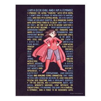 Les litanies de la fille de geek pour le féminisme carte postale