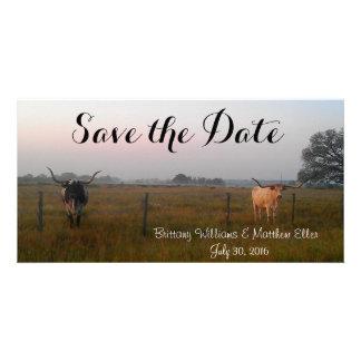 Les Longhorns du Texas sauvent la carte de date Photocarte Customisée