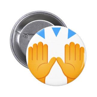 Les mains ont soulevé Emoji Badge Rond 5 Cm