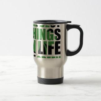Les meilleures choses dans la vie sont vertes mug de voyage en acier inoxydable
