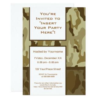 Les militaires bronzages de désert camouflent la carton d'invitation  12,7 cm x 17,78 cm