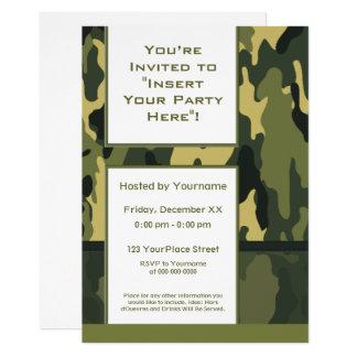 Les militaires verts géniaux camouflent carton d'invitation  12,7 cm x 17,78 cm