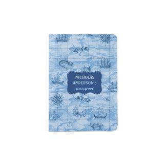 Les monstres de mer bleus vintages de regard de protège-passeport