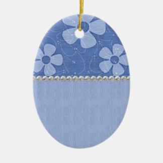 Les nuances du bleu fleurit la forme en céramique ornement ovale en céramique