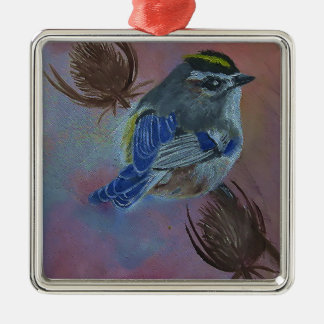 Les oiseaux D'or-ont couronné le Kinglet Ornement Carré Argenté