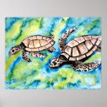 les paires d'amour de tortue de l'affiche d'art de