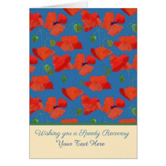 Les pavots de champ rouges avant faits sur carte de vœux