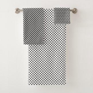 Les points blancs noirs zigzaguent motif de