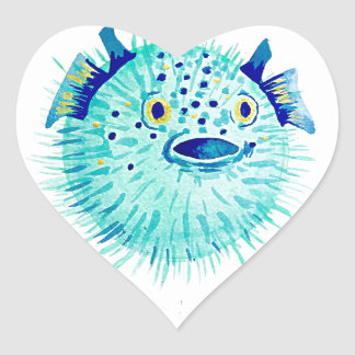 Les Pufferfish de Neptune Sticker Cœur