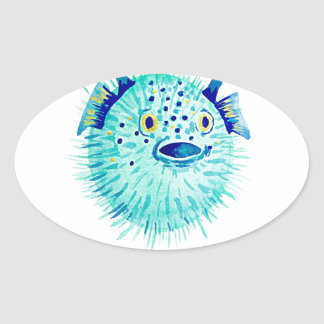 Les Pufferfish de Neptune Sticker Ovale