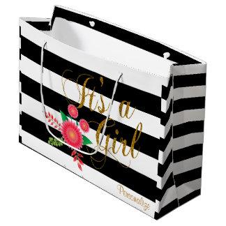 Les rayures noires et blanches avec le rose grand sac cadeau