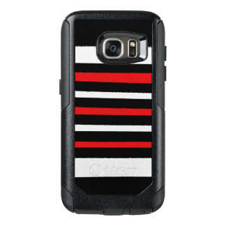 Les rayures rouges blanches noires refroidissent coque OtterBox samsung galaxy s7
