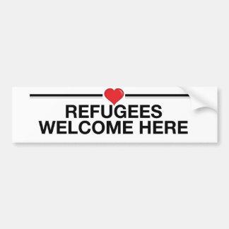 Les réfugiés souhaitent la bienvenue ici autocollant de voiture