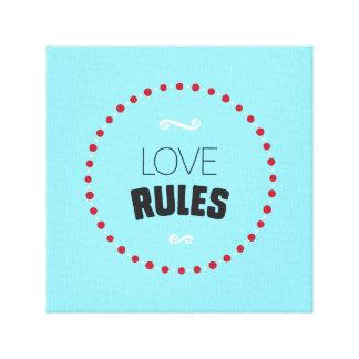 Les règles d'amour ont enveloppé la toile - bleu