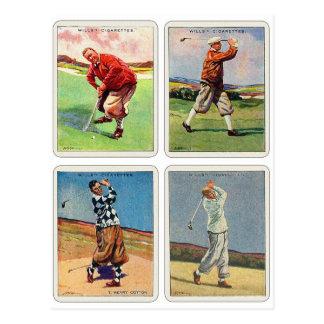 Les rétros cartes de la volonté jouante au golf de cartes postales