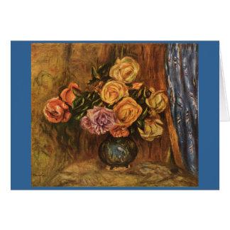 Les roses de Renoir devant Curtain bleu (1908) Carte
