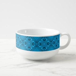 Les tasses de soupe   à kaléidoscope de bleus