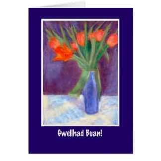Les tulipes rouges obtiennent la carte bonne, salu