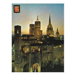 L'Espagne vintage, Barcelone au coucher du soleil Cartes Postales