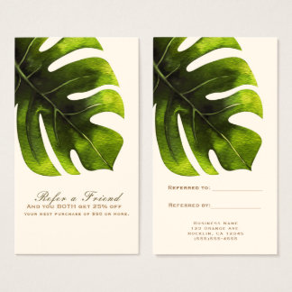 L'été en feuille de palmier tropical élégant se cartes de visite
