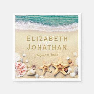 L'étoile de mer tropicale vintage de plage écosse serviettes jetables