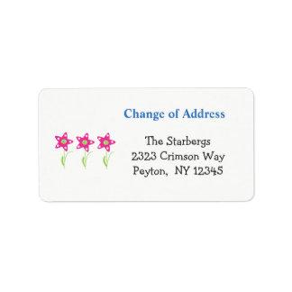 L'étoile rose fleurit l'adresse debut de piste étiquette d'adresse