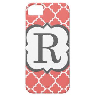 Lettre blanche de corail R Quatrefoil de iPhone 5 Case
